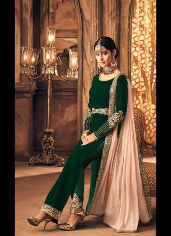 Green Embroidered Velvet Straught Suit