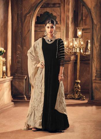 Black Embroidered Velvet Anarkali