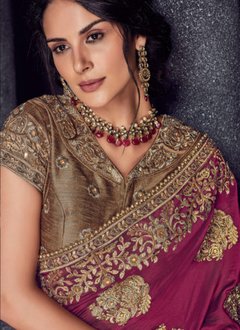 Beige and Pink Embroidered Saree