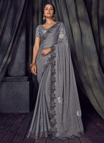 Blue Grey Embroidered Saree