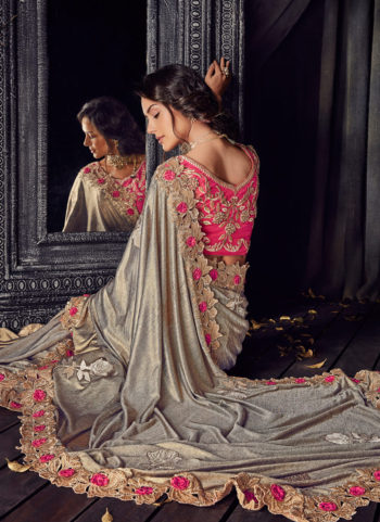 Grey and Pink Embroidered Saree