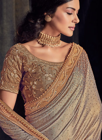 Beige and Grey Embroidered Saree
