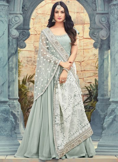 Ice Blue and White Embroidered Georgette Anarkali