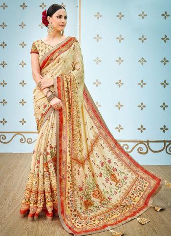 Cream Printed Banarasi Silk Saree