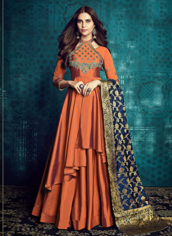 Orange Embroidered Anarkali Gown