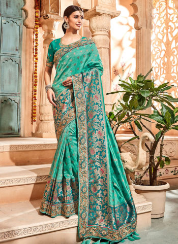 Sea Green and Gold Embroidered Saree