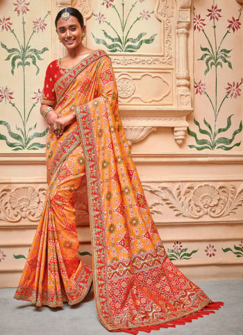 94d43cb998 Orange and Red Embroidered Saree