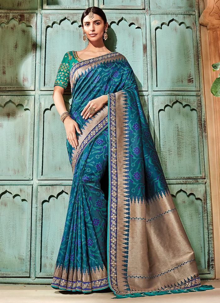 7727d1e789 Blue and Grey Embroidered Saree