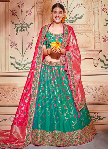 Sea Green and Pink Embroidered Lehenga