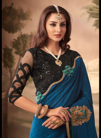 Blue and Black Embroidered Saree