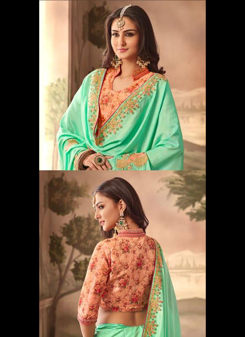 Light Green and Peach Embroidered Saree