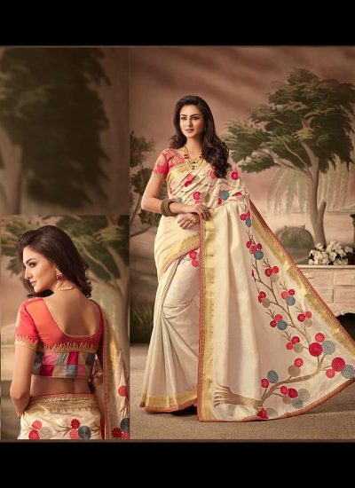Cream and Red Embroidered Saree