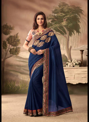 Blue and Pink Embroidered Saree