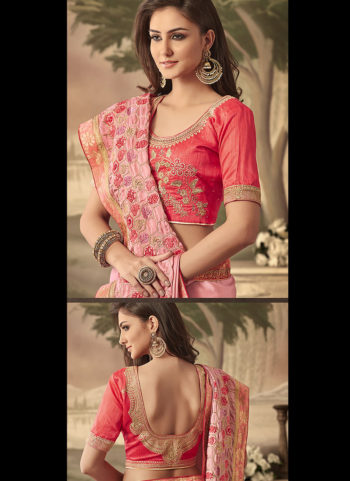 Light Pink and Red Embroidered Saree