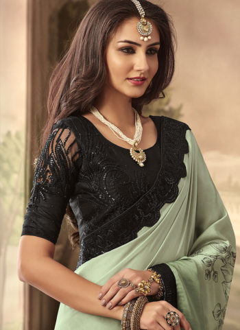 Light Green and Black Embroidered Saree
