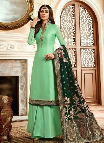 Light Green and Gold Embroidered Palazzo Suit