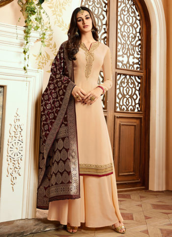 Cream and Gold Embroidered Palazzo Suit