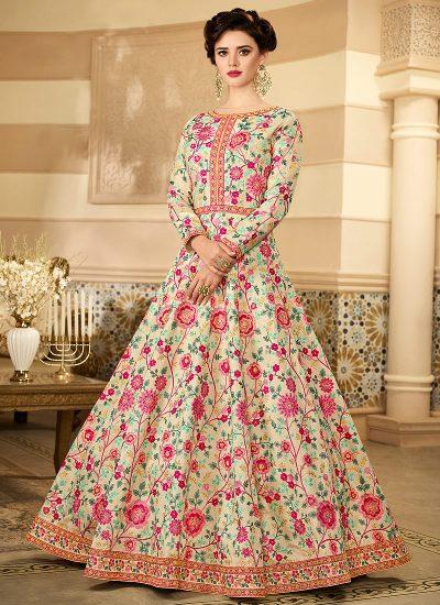 Light Cream Floral Embroidered Anarkali