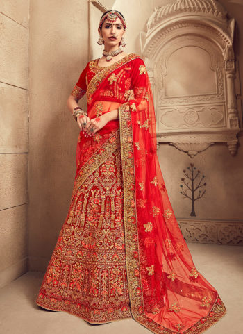 Red and Gold Embroidered Bridal Lehenga