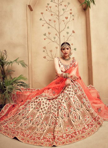 Cream and Light Pink Embroidered Bridal Lehenga