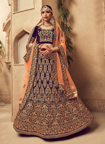 Blue and Gold Embroidered Bridal Lehenga