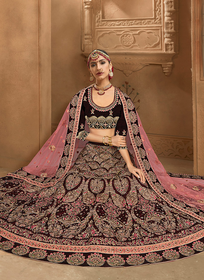 Brown and Gold Embroidered Bridal Lehenga