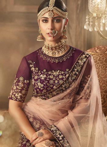 Purple and Gold Heavy Embroidered Lehenga