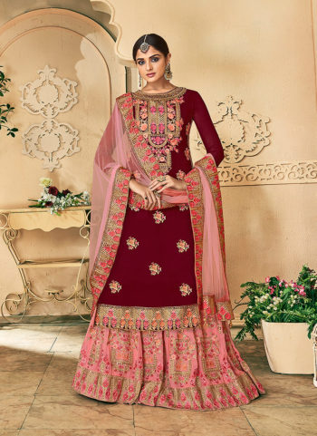 Maroon and Pink Embroidered Palazzo Suit