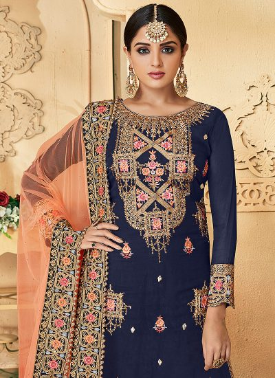 Blue and Peach Embroidered Palazzo Suit