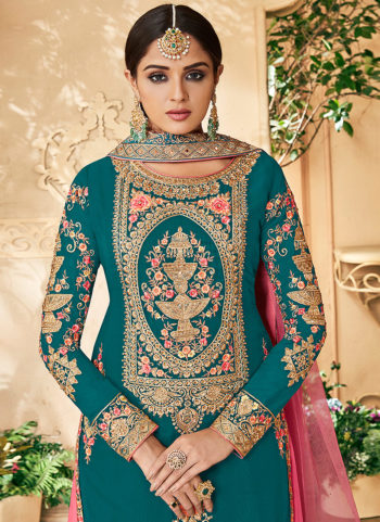 Teal and Light Pink Embroidered Palazzo Suit