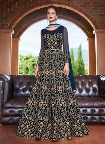 Dark Blue and Gold Embroidered Anarkali