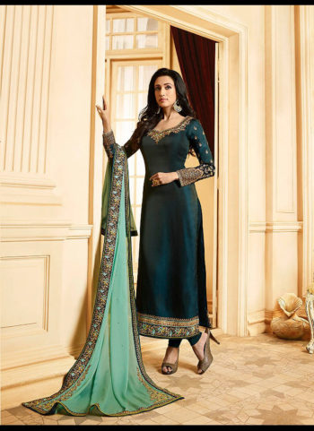 Dark Blue and Gold Embroidered Straight Suit