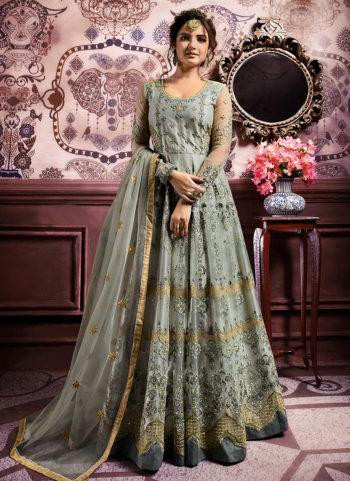 Light Blue and Gold Embroidered Anarkali