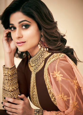 Brown and Gold Embroidered Anarkali