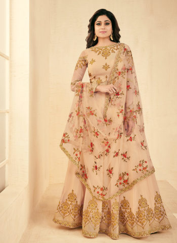 Cream and Gold Embroidered Anarkali