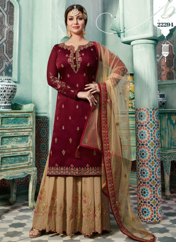 Red and Beige Embroidered Gharara Suit
