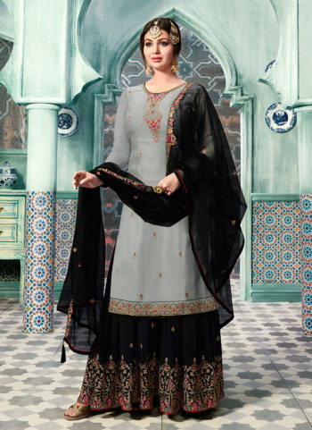 Grey and Black Embroidered Gharara Suit