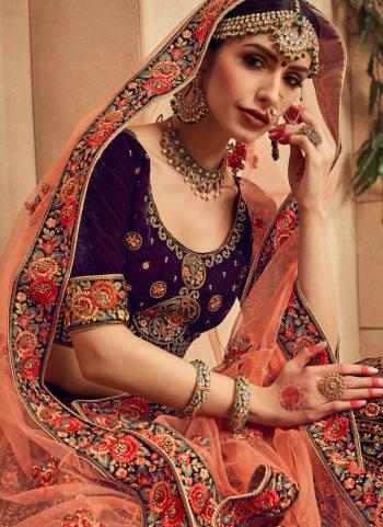 Purple and Gold Embroidered Bridal Lehenga
