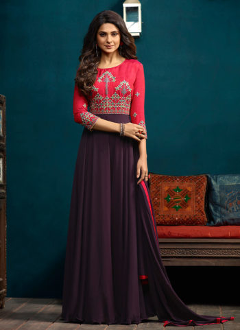 Purple and Red Embroidered Anarkali Gown