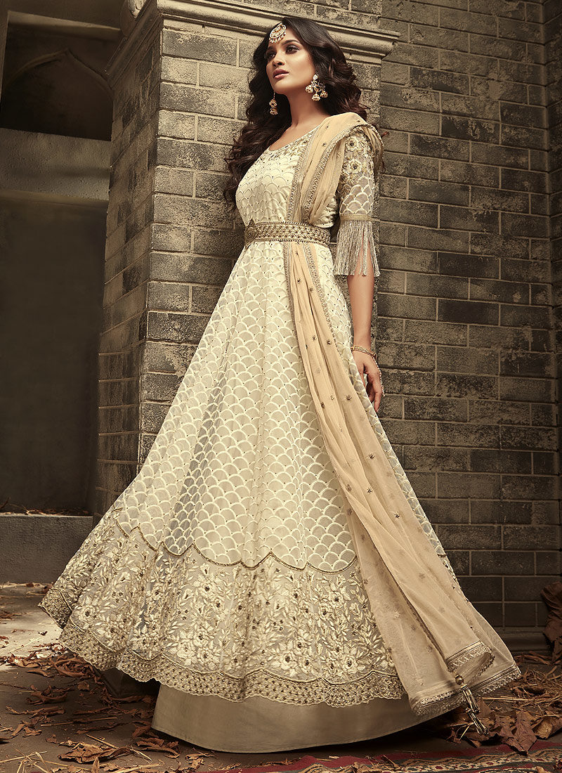 d44238ff0c Offwhite Embroidered Pant Style Anarkali – Falakenoor Boutique