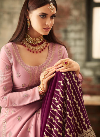 Light Pink and Purple Embroidered Gharara Suit