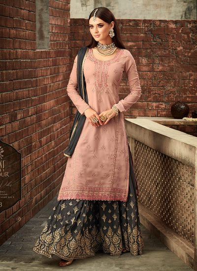 Light Peach and Grey Embroidered Gharara Suit