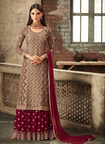 Light Brown and Red Embroidered Gharara Suit