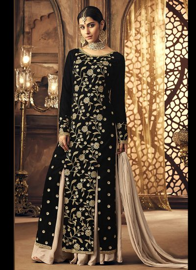 Black and Cream Embroidered Palazzo Suit