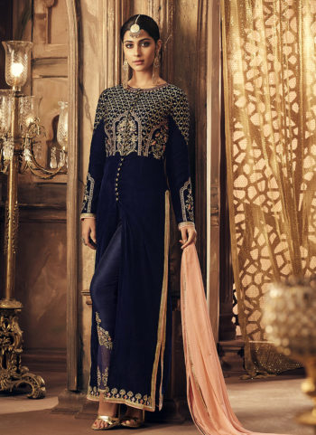 Blue and Gold Embroidered Straight Pant Suit