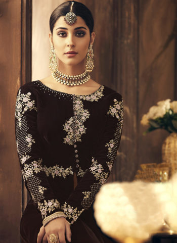 Deep Wine and Gold Embroidered High Low Anarkali