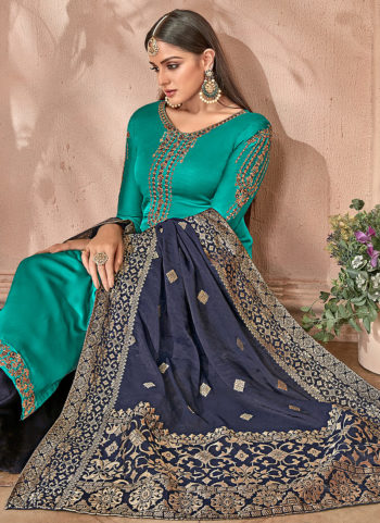 Teal and Blue Embroidered Palazzo Suit