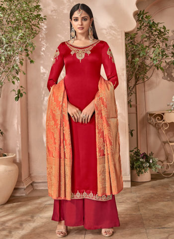 Red and Pink Embroidered Palazzo Suit