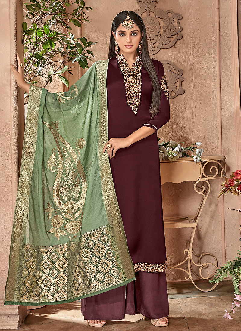 ea8179acd2d Maroon and Gold Embroidered Palazzo Suit – Falakenoor Boutique