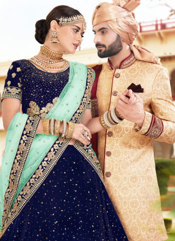 Navy Blue and Gold Embroidered Bridal Lehenga
